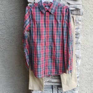 Wonder Nation Boys Khakis Plaid Shirt Sz 12